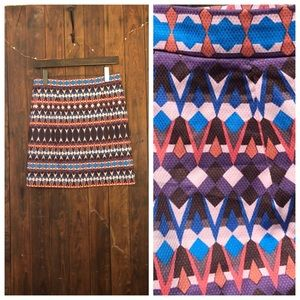 J Crew Pink/Purple/Blue Gemstone Print  Mini Skirt